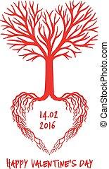 szív, vektor, piros, fa