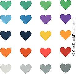 szív, vektor, színes, ikon