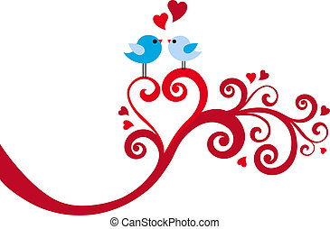 szív, vektor, szeret, örvény, madarak