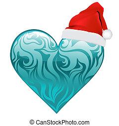 szív, vektor, tervezés, karácsony