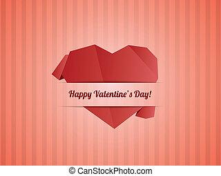 szív, vektor, valentines, -, dolgozat, nap, kártya