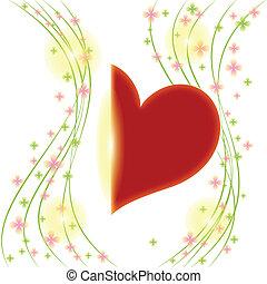 szív, virág, köszönés, tavasz, piros lap
