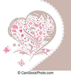 szív, virág, kivonat alakzat, meghívás, kártya