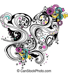 szív, virág, tervezés, spirál, cikornya