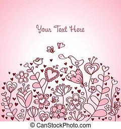 szív, virágos, háttér, rózsaszínű, piros
