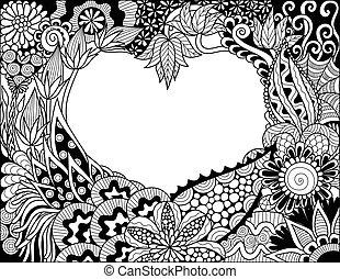 szív, virágos