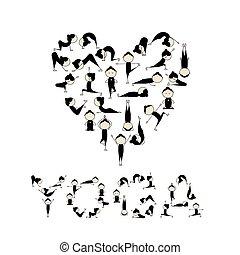szív, yoga!, alakít, tervezés, szeret, -e