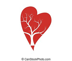 szív, zöld, vektor, szeret, fa
