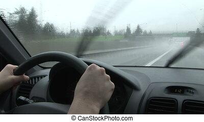 szívverés, felhőszakadás, vezetés, hát, eső, szélvédő, wipers