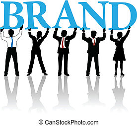 szó, ügy emberek, márka, épít, személyazonosság