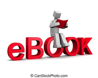 szó, ülés, ebook, könyv, bábu olvas, piros, 3