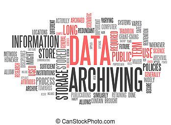 szó, archiving, adatok, felhő