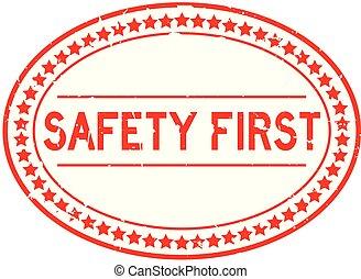 szó, bélyeg, gumi, biztonság, háttér, fóka, ovális, grunge, white piros, először