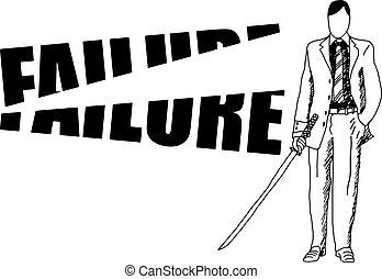 szó, balsiker, szamuráj, éles, kard, üzletember
