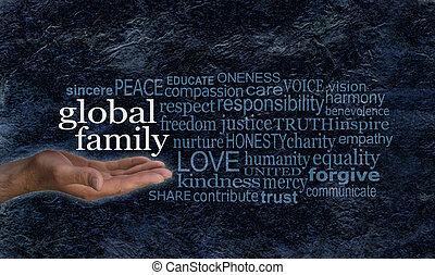 szó, család, kampány, globális, transzparens, felhő
