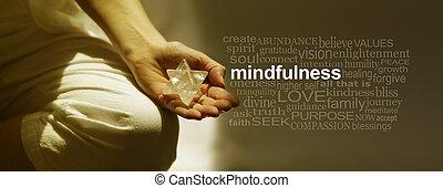 szó, elmélkedés, transzparens, felhő, mindfulness