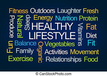 szó, felhő, egészséges életmód
