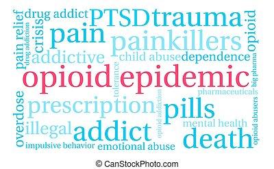 szó, felhő, járvány, opioid