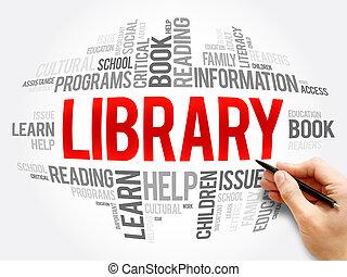 szó, felhő, kollázs, könyvtár