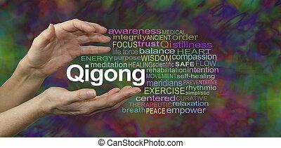 szó, gyógyulás, felhő, qigong
