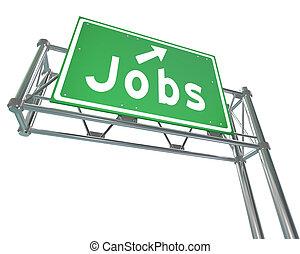 szó, hegyezés, karrier, aláír, autópálya, zöld, dolgok, új, alkalmazás