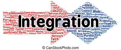 szó, integráció, alakít, felhő