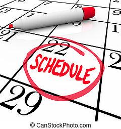 szó, menetrend, bekerített, találkozó naptár, figyelmeztetés