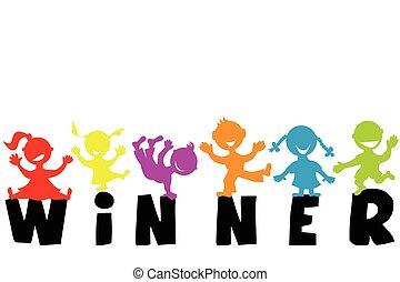 szó, nyertes, ábra, körvonal, gyerekek, boldog