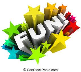szó, szórakozás, starburst, csillaggal díszít, móka, szórakozás