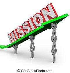 szó, tökéletes, misszió, munka, nyíl, befog, emelés