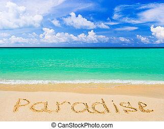 szó, tengerpart, paradicsom