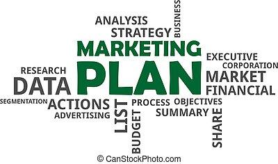 szó, -, terv, felhő, marketing