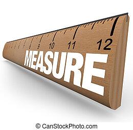 szó, vonalzó, mérés, -, bot, felbecsül
