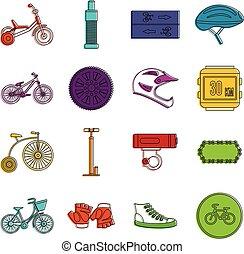 szórakozottan firkálgat, állhatatos, bringázás, ikonok