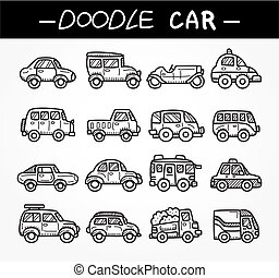 szórakozottan firkálgat, állhatatos, karikatúra, autó, ikon