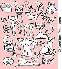 szórakozottan firkálgat, állhatatos, macska