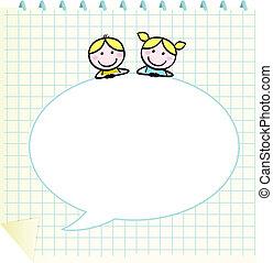 szórakozottan firkálgat, buborék, gyerekek, tiszta, beszéd, izbogis, notepad