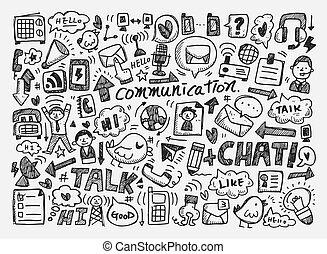 szórakozottan firkálgat, háttér, kommunikáció