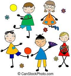szórakozottan firkálgat, játék, háttér, karikatúra, gyerekek, fehér