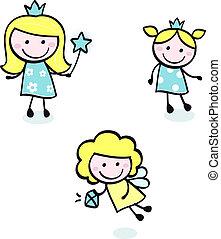 szórakozottan firkálgat, kék, csinos, elszigetelt, -, hercegnő, gyűjtés, fehér