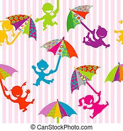 szórakozottan firkálgat, körvonal, gyerekek, esernyők