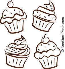 szórakozottan firkálgat, mód, cupcake, ikon