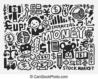 szórakozottan firkálgat, pénzel, motívum
