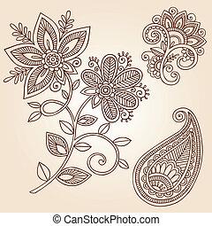 szórakozottan firkálgat, paisley, vektor, hennabokor, virág