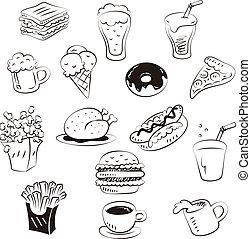 szórakozottan firkálgat, rajzol, mód, élelmiszerek, kéz