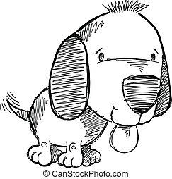 szórakozottan firkálgat, skicc, kutyus, kutya, rajz