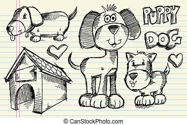 szórakozottan firkálgat, skicc, vektor, kutyus, kutya