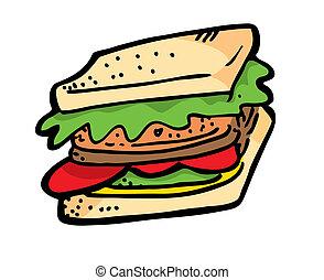 szórakozottan firkálgat, szendvics