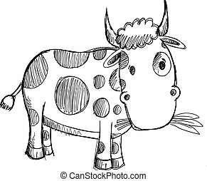 szórakozottan firkálgat, tehén, skicc, rajz