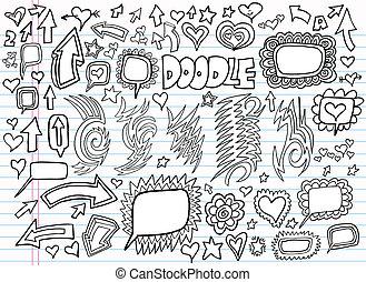 szórakozottan firkálgat, tervezés, vektor, állhatatos, jegyzetfüzet